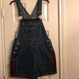 "Vintage ""Bum Equipment"" short bib overalls M $25"